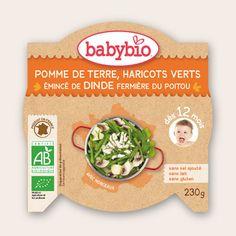 Mon p'tit Plat - Pomme de Terre, Haricots Verts, Emincé de Dinde fermière du Poitou - dès 12 mois - Produit en France - Babybio