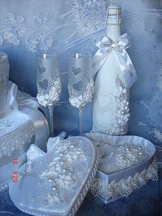 """Купить Свадебный набор """" Два сердца"""" - свадебные аксессуары, свадебные бокалы, свадьба"""