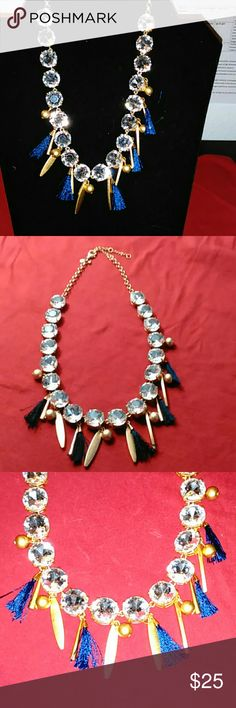 """Ann Taylor Necklace Gold chain w/18 (.5"""") Crystals and hanging gold Balls, Spike, and navy blue tassels. 16"""" chain, 2.75"""" extender chain,  and a lobster claw clasp.  Given as a Gift. Worn once before. """"Mint Condition"""" Ann Taylor Jewelry Necklaces"""