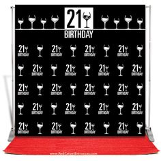 21st Red Carpet Birthday. Red carpet runner, vinyl step & repeat banner, telescopic hardware. All inclusive, DIY red carpet event kit.