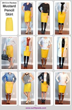 Outfit Posts: outfit post: polka dot blouse, jean jacket, mustard pencil skirt, grey suede heels
