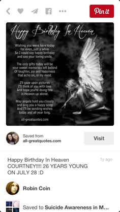 Happy birthday in heaven to my son Chuck was on July was 26 yrs young when killed 11 yrs latter would of been 37 now 2017 Love and miss you so much❤️ Birthday In Heaven Quotes, Happy Birthday In Heaven, Birthday Quotes, Birthday Wishes, Cousin Birthday, Mom In Heaven, Angels In Heaven, Missing My Son, Joy And Happiness
