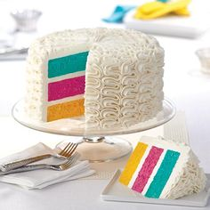 This pure white cake will fool you! The interest seems to be on the zigzag texture on the outside, but on the inside each cake layer appears in a bright neon shade. Tint the batter in teal, pink and yellow with the Wilton Color Right™ Performance Color System and the QuickCount™ drop-by-drop formulas below.