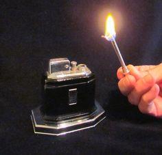 Ronson Touch Tip Lighter 1930s Octette Table Lighter Art Deco Black Enamel Excellent Working Lighter