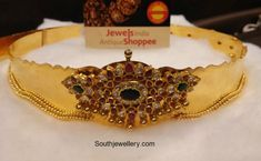 22 Carat gold antique vaddanam with center motif studded with polki diamonds, rubies and emeralds by Jewels India Antique Shoppee. Vanki Designs Jewellery, Antique Jewellery Designs, Jewelry Design Earrings, Gold Earrings Designs, Indian Jewellery Design, Indian Jewelry, Gold Jewelry, Vaddanam Designs, Baby Jewelry
