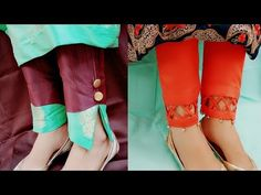 Two beautiful and trending plazzo pant's bottom designs Sleeves Designs For Dresses, Dress Neck Designs, Sleeve Designs, Plazzo Pants, Salwar Pants, Sewing Clothes Women, Clothes For Women, Kurti Patterns, Designer Kurtis Patterns