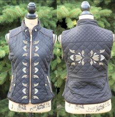 Black Quilted Vest with Art Deco Embroidery