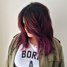 Brunette, burgundy, purple ombre