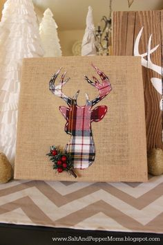DIY Deer Art: Plaid deer head on a burlap canvas for the holidays. Full tutorial with printable stencils.