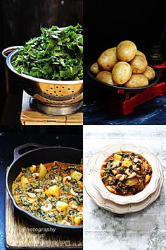 Jagruti's Cooking Odyssey: Saag Aloo - Spinach , Potato with Cashews - Sabji #Britishcurry #Spinach #aromaticspices #Sidedish #Britsfavourite