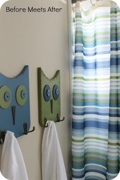 Before Meets After: If you send a girl to Target: Guest Bathroom Reveal - (Love the owl coat hooks) Wood Projects, Woodworking Projects, Craft Projects, Owl Crafts, Wooden Crafts, Wood Art, Diy Home Decor, Wall Decor, Crafty