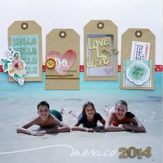 """Mexico 2014 - Scrapbook.com - Use large tags as a design element on a 12 x 12 beach layout. Love the machine stitched """"strings"""" on the tags!"""