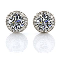 Halo Round CZ Earrings