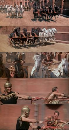Judah Ben-Hur catching up to Messala a second time, near the end of the race. This time, he rides toward victory even with Messala's dirty tactics to win the race. Ben-Hur 1959