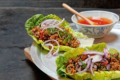 Das Rezept für Pikante Salatcups  mit Asia-Hackfüllung mit allen nötigen Zutaten und der einfachsten Zubereitung - gesund kochen mit FIT FOR FUN