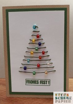 Christmas - Card & quot; beads on the Christmas tree - a designer piece of paper at about yesterday scissors