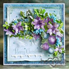 Heartfelt Creations - Purple Poinsettia Christmas Cluster Project