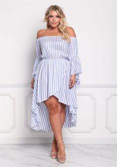 Plus Size Clothing   Plus Size Pinstripe Off Shoulder Hi-Lo Dress   Debshops