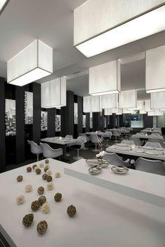 Modern Restaurant Displaying Black and White Interior Design | Collaborative Architecture - The Architects Diary #interior #design #lighting #ideas #restaurant #minimal