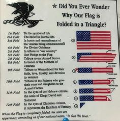 Meanings of each individual flag fold. Good to know. Us History, History Facts, American History, American Pride, American Flag Facts, American Flag Meaning, Texas History, Black History, Pearl Harbor