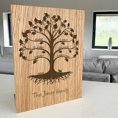 Personalised Wooden Family Tree Block Artwork by Urban Twist, the perfect gift for Explore more unique gifts in our curated marketplace. Tree Artwork, Artwork Display, Personalised Family Tree, On The High Street, Wooden Blocks, Solid Oak, Edinburgh, Glasgow, Creative Design