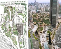 Namba Parks Osaka _ Architecture in the Streets by The Jerde Partnership Landscape Plans, Urban Landscape, Landscape Design, Green Architecture, Landscape Architecture, Namba Parks, Site Development Plan, Street Pictures, Landscaping Software