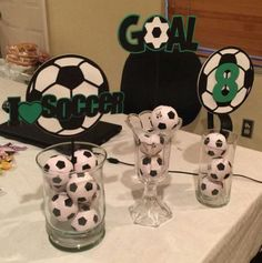 Soccer theme centerpieces by on etsy soccer party. Soccer Theme Parties, Soccer Party, Grad Parties, Party Themes, Birthday Parties, Party Ideas, Soccer Birthday, 2nd Birthday, Birthday Ideas