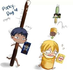 Aomine Daiki x Kise Ryota and Rivaille (Levi) x Eren Jaeger