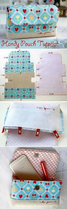 62 Ideas Diy Bag Ideas Pouch Tutorial For 2019 Sewing Hacks, Sewing Tutorials, Sewing Crafts, Bag Tutorials, Tutorial Sewing, Sewing Tips, Purse Patterns, Sewing Patterns, Patchwork Patterns
