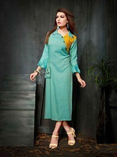 Partywear Designer See Green Rayon 2 Ton Fancy Kurti Indian Tunic, Indian Wear, Kurti With Jacket, Designer Kurtis Online, Fancy Kurti, Kurti Patterns, Edwardian Dress, Ethnic Wear Designer, Types Of Sleeves