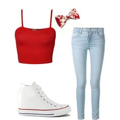 little scary by prettyiceballos on Polyvore featuring polyvore fashion style WearAll Frame Denim Converse