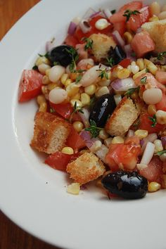 Summer panzanella: a recipe for tomato bread salad (with corn!) from Hardy MacLachlan, Janine's Rustic Kitchen. Tomato Bread, Great Recipes, Favorite Recipes, Bread Salad, Veggie Side Dishes, Kinds Of Salad, Rustic Kitchen, Kung Pao Chicken, Farmers Market