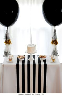 Graduation party dessert table including a homemade sprinkle cake, cookies, cupcakes, tassel balloons and decorations to celebrate the graduate. Graduation Party Desserts, Graduation Decorations, Graduation Cake, Simple Birthday Decorations, Graduation Balloons, Graduation Quotes, Birthday Balloons, Birthday Parties, Classy Birthday Party