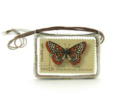 Butterfly Postage Stamp Necklace with 1977 Checkerspot butterfly stamp