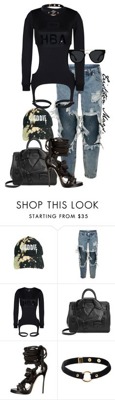 """The BlackOut Edition."" by monroestyles ❤ liked on Polyvore featuring One Teaspoon, Hood by Air, Moschino, Dsquared2, Nika and Quay"