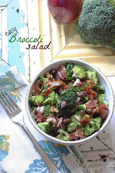 Easy Broccoli Salad- Broccoli Salad 2 heads broccoli, flowers only 12 slices bacon crumbled cup pecans cup raisins cup chopped red onion 1 cup mayonnaise cup sugar 2 Tablespoons apple cider vinegar Easy Broccoli Salad, Great Recipes, Favorite Recipes, Cooking Recipes, Healthy Recipes, Soup And Salad, Food For Thought, Carne, Salad Recipes