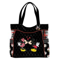 It was plain to see from the very start that Mickey Mouse and Minnie Mouse had a special connection. Now, you can share in the magic of Disney's first sweethearts with the Mickey Mouse and Minnie Mouse Love Story Tote Bag, an original fashion design from Disney Tote Bags, Disney Handbags, Disney Purse, Coach Disney, Disney Dooney, Mickey And Minnie Love, Disney Mickey Mouse, Minnie Mouse, Mickey Mouse Quilt