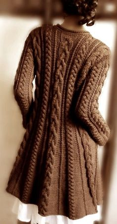 Hand-knit cable sweater in chocolate. Silhouette is a-line. Hand-knit cable sweater in chocolate. Silhouette is a-line. The post Hand-knit cable sweater in chocolate. Merino Wool Sweater, Sweater Coats, Cable Knit Sweaters, Sweater Jacket, Brown Sweater, Chunky Sweaters, Comfy Sweater, Blazer Jacket, Sweater Knitting Patterns