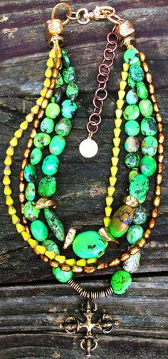 Green Turquoise, Gold Pearl and Tibetan Bronze Dorje Pendant Necklace | XO Gallery $375