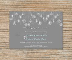 Wedding Invitation - Snowflake Ornaments in Gray and White - Invitation and RSVP Card with Envelopes. $2,25, via Etsy.