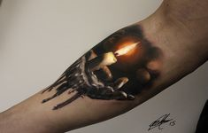 Realistic Burning Candle Tattoo On Right Sleeve