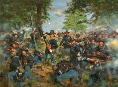 "Here we have the new Gettysburg painting at long last. It should be available as a print in a few days , it's not up on the Historical Art Prints website yet. The title: ""the Black Hats"" and the scene depicts Sergeant Major Blanchard of the 19th Indiana Regiment (Iron Brigade) uncasing the flag in the face of a hail of fire. He would be killed moments later. — Don Troiani Historical Artist"