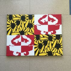 Maryland flag canvas, black eyed Susan's & crabs! Taken from the Route One Apparel flag