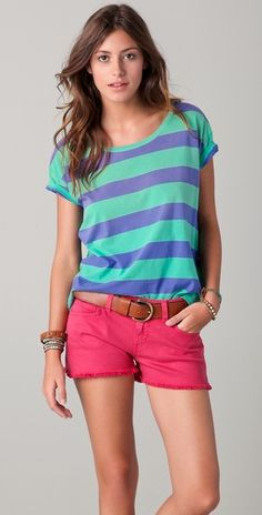 Bright Rugby Striped Tee w/ Rasberry Cutoffs by Madwell