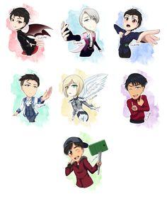 Yuri on Ice Chibis by sukirai14