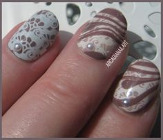 Learn how to create lace water marble nail art in my new Youtube tutorial! - youtu.be/QZ6Q3c_hOYY #watermarble #lacenails #arcadianailart