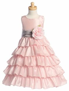 Flower Girl Dress - Flower Girl Dress For Less is your trusted source for Christening gowns, infant dresses, holiday dresses, Christmas dresses, party dresses and accessories for bargain prices Flower Girl Gown, Pink Flower Girl Dresses, Girls Dresses, Flower Girls, Pink Ruffle Dress, Baby Dress, Ruffles, Holiday Formal Dresses, Applique Skirt