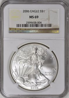 2006 $1 Silver Eagle NGC MS-69 Silver Eagle Coins, Silver Eagles, Gold American Eagle, Personalized Items