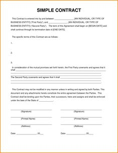 Simple Contract Agreement Contractor Template Format By Lizlee Us This Kind Of Can Be Produced Enforceable If