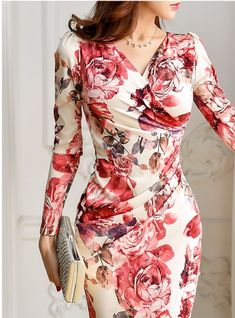 Spring Autumn Long Sleeve Sexy V-Neck Floral Printed Bodycon Dress - Women's Dresses, Elegant Dresses, Beautiful Dresses, Fashion Dresses, Floral Dresses, Trendy Dresses, Dance Dresses, Dresses Online, Short Dresses